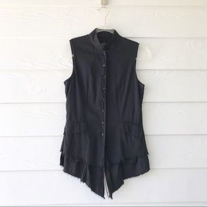 All Saints Black Asymmetrical Button Up Shirt